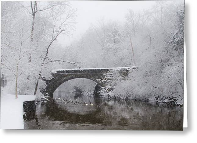 Greeting Cards - Valley Green Bridge in the Snow Greeting Card by Bill Cannon
