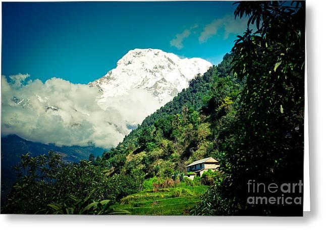 Valley Himalayas Mountain Nepal Greeting Card by Raimond Klavins