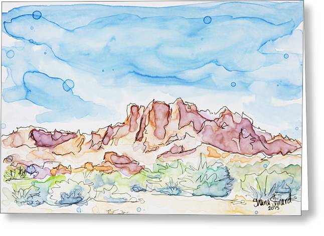 Yupo Paper Greeting Cards - Valley of Fire Greeting Card by Shaina Stinard