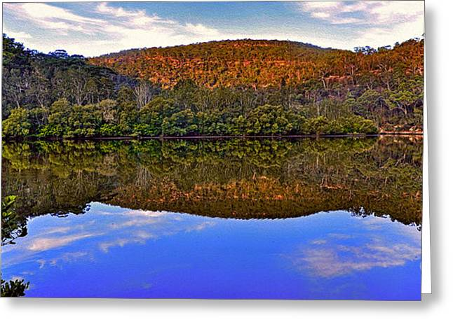 Reflections Of Trees In River Greeting Cards - Valley of Peace Greeting Card by Kaye Menner