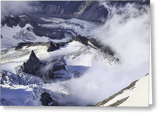 Grey Clouds Greeting Cards - Valley of the Glaciers Greeting Card by Phyllis Taylor