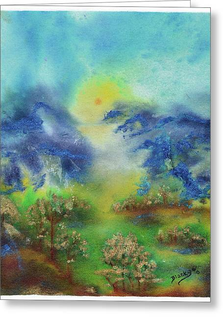 Valley Of The Mist Greeting Card by Donna Blackhall