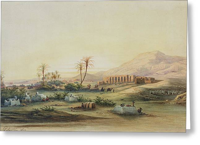 Mountain Valley Paintings Greeting Cards - Valley of the Nile with the Ruins of the Temple of Seti I Greeting Card by Prosper Georges Antoine Marilhat
