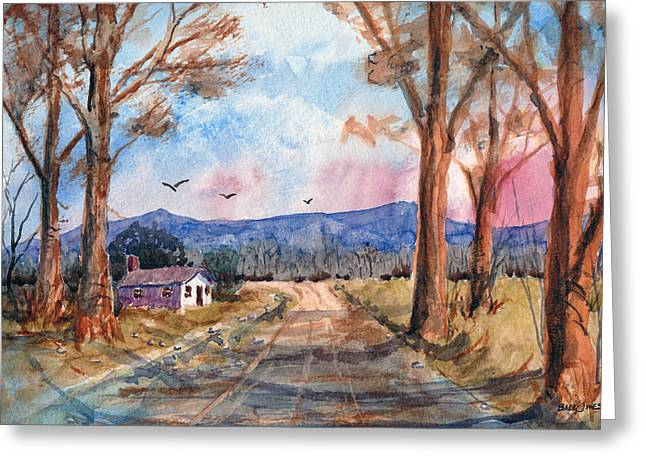 Mountain Road Drawings Greeting Cards - Valley Road - Watercolor Greeting Card by Barry Jones