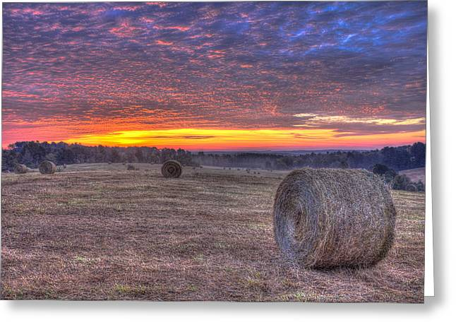 Hay Bales Greeting Cards - Valley Sunrise Walker Church Road Greeting Card by Reid Callaway