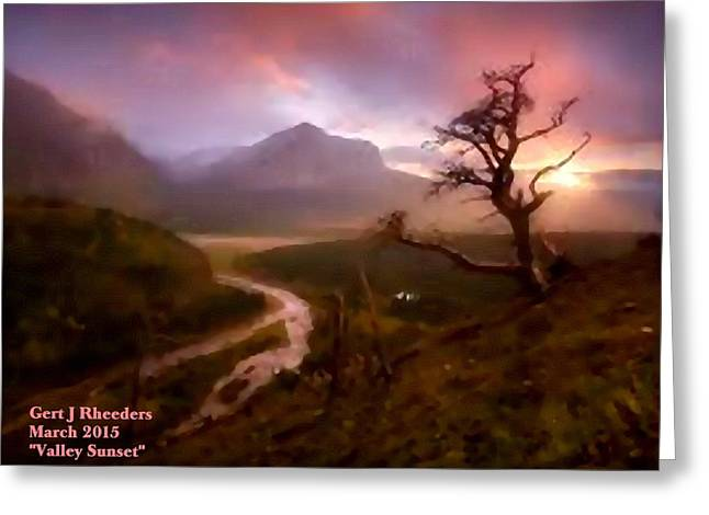 Cellphone Pastels Greeting Cards - Valley Sunset H a Greeting Card by Gert J Rheeders