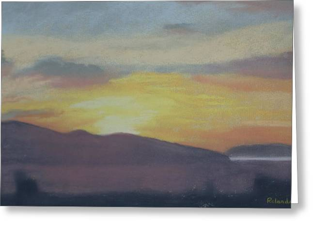 Mountain Valley Pastels Greeting Cards - Valley Sunset Greeting Card by Rolanda Root