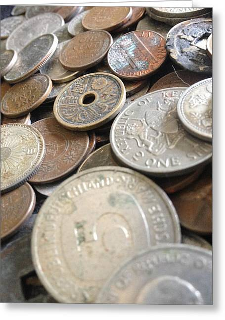 Coins Greeting Cards - Value Added - Full Greeting Card by Catherine B Elias