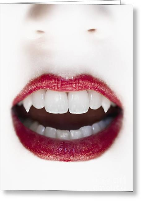 Pale Lipstick Greeting Cards - Vampire Greeting Card by Margie Hurwich