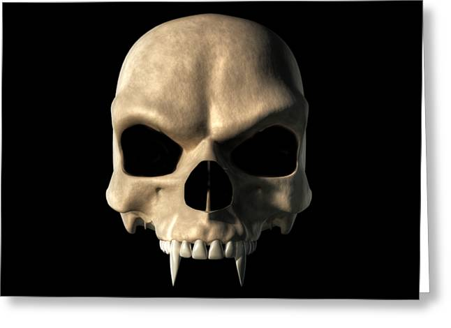 Dracula Digital Greeting Cards - Vampire Skull Greeting Card by Daniel Eskridge
