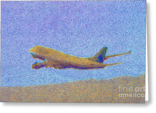 Sky Van Gogh Far Airlines Greeting Card by Wernher Krutein