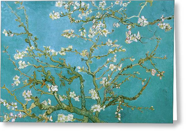 Woman Canvas Greeting Cards - Van Gogh Blossoming Almond Tree Greeting Card by Vincent Van Gogh