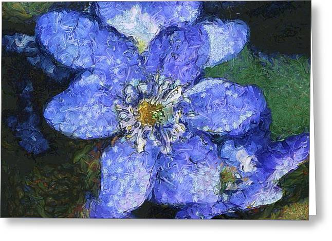 Van Gogh Style Greeting Cards - Van Gogh Blue Flower Greeting Card by Mario Carini