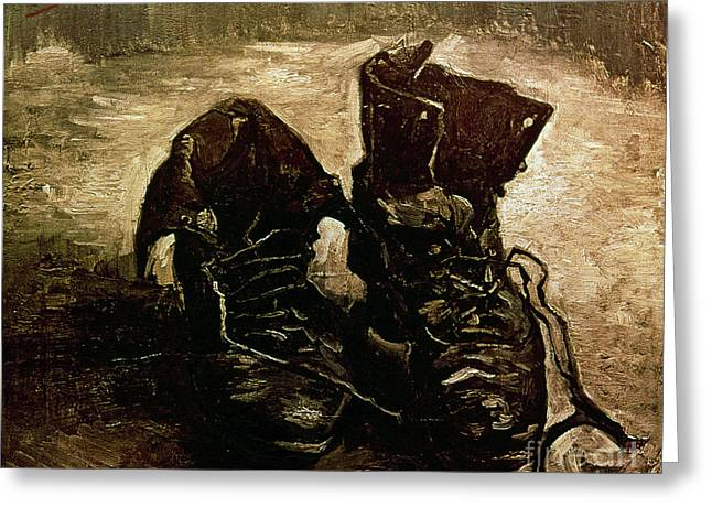 1886 Greeting Cards - Van Gogh Boots 1886 Greeting Card by Granger