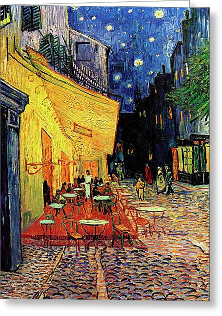 Religious Art Paintings Greeting Cards - Van Gogh Cafe Terrace Place du Forum at Night Greeting Card by Vincent Van Gogh