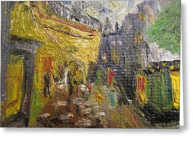 Van Gogh Cafe Terrace Place Du Forum - Tiny Sized Greeting Card by John Hehir