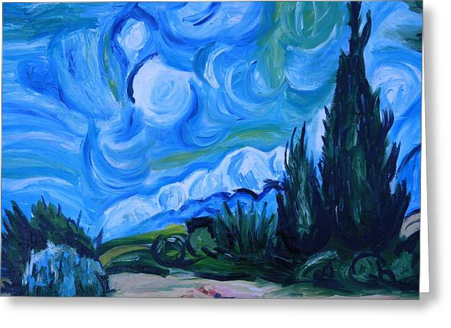 Cheap Paintings Greeting Cards - Van Gogh I Greeting Card by Mikayla Henderson