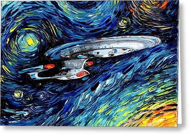 van Gogh Never Boldly Went Greeting Card by Aja Apa-Soura