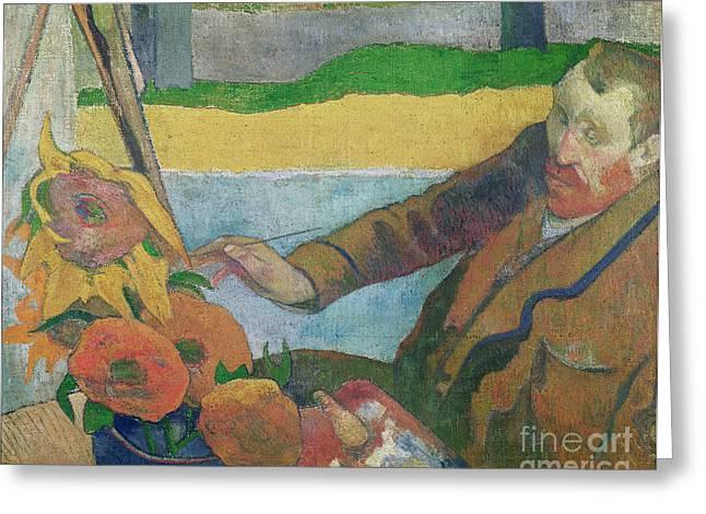 Paul (1848-1903) Paintings Greeting Cards - Van Gogh painting Sunflowers Greeting Card by Paul Gauguin