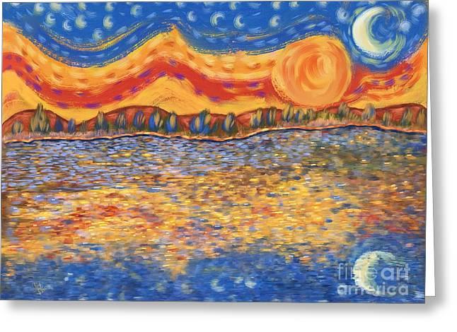 Vintage Painter Greeting Cards - Van Gogh Skies Greeting Card by Sydne Archambault