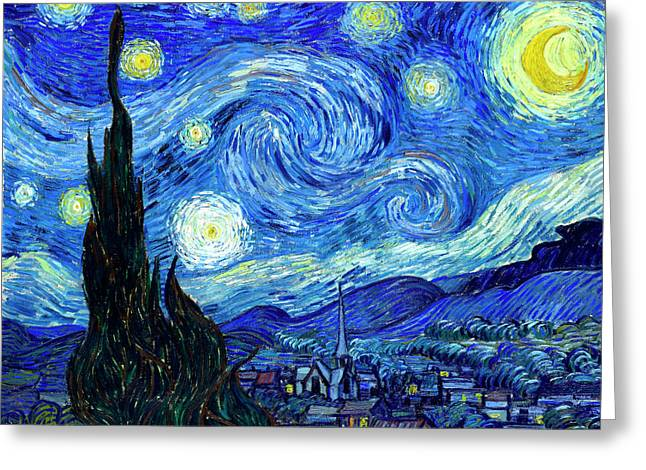 Religious ist Paintings Greeting Cards - Van Gogh Starry Night Greeting Card by Vincent Van Gogh