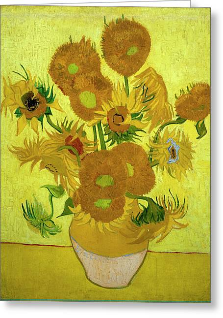 Vincent Van Gogh Greeting Cards - Van Gogh Sunflowers Greeting Card by Vincent Van Gogh