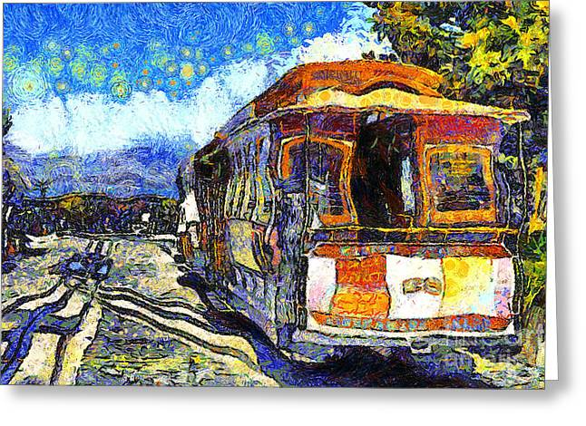 Street Scene Digital Art Greeting Cards - Van Gogh Vacations In San Francisco 7D14099 Greeting Card by Wingsdomain Art and Photography