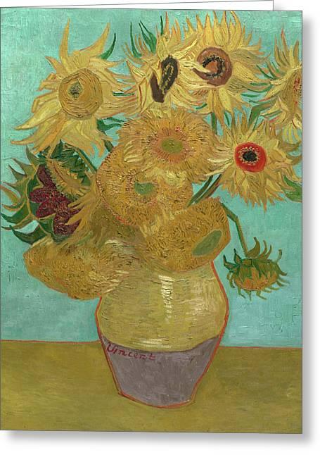 Vincent Van Gogh Greeting Cards - Van Gogh Vase with Twelve Sunflowers  Greeting Card by Vincent Van Gogh