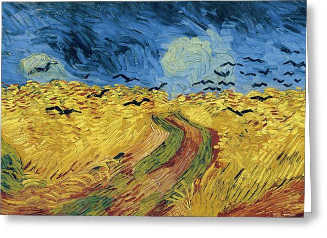 Canvas Crows Greeting Cards - Van Gogh Wheatfield with Crows Greeting Card by Vincent Van Gogh