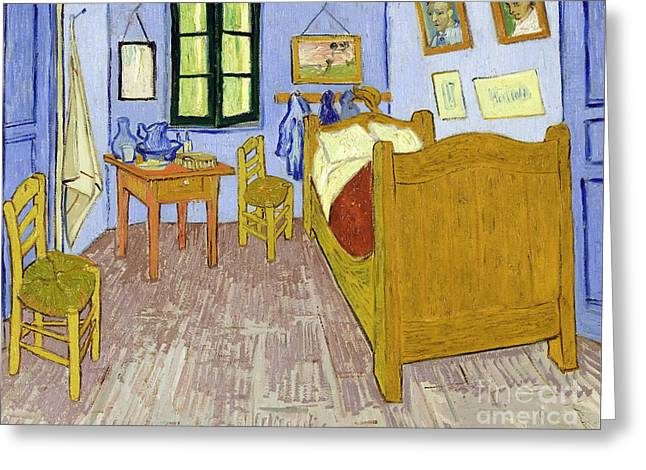 Vintage Painter Greeting Cards - Van Goghs Bedroom in Arles Greeting Card by Van Gogh