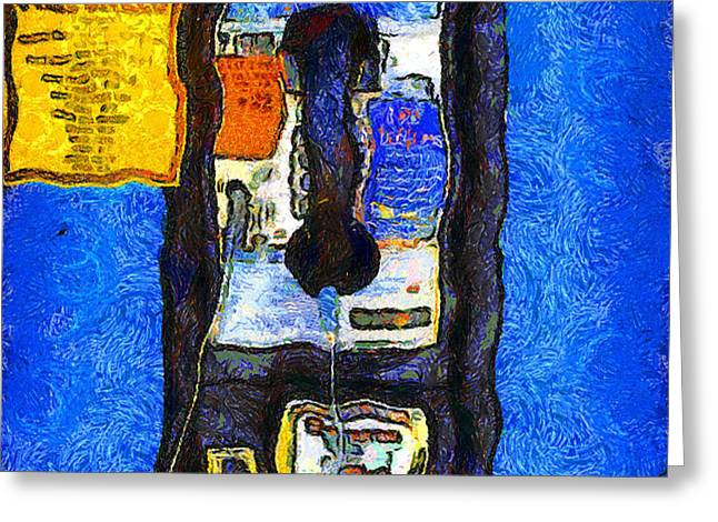 Van Gogh.s Pay Phone . 7D15934 Greeting Card by Wingsdomain Art and Photography