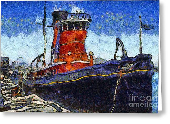 Pier 39 Greeting Cards - Van Gogh.s Tugboat . 7D14141 Greeting Card by Wingsdomain Art and Photography