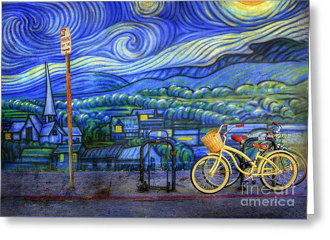 California Beach Art Greeting Cards - Van Goghs Yellow and Green Bicycles Greeting Card by Craig J Satterlee
