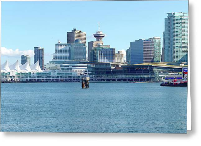 Burrard Inlet Greeting Cards - Vancouver BC waterfront skyline panorama. Greeting Card by Gino Rigucci