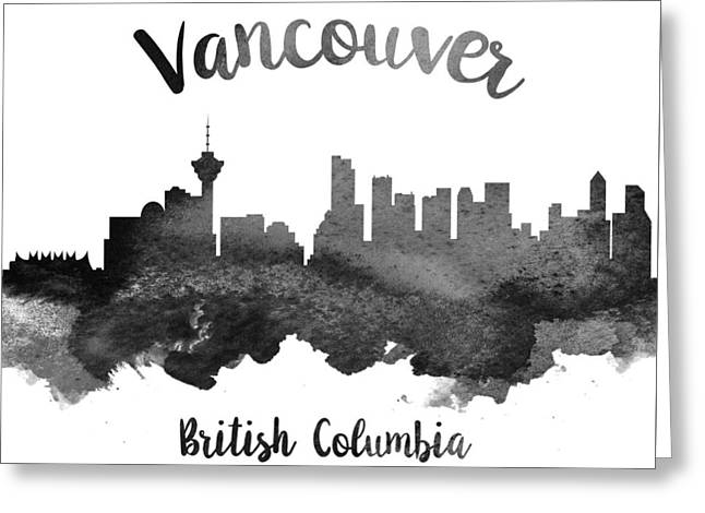 Vancouver Skyline Greeting Cards - Vancouver British Columbia Skyline 18 Greeting Card by Aged Pixel