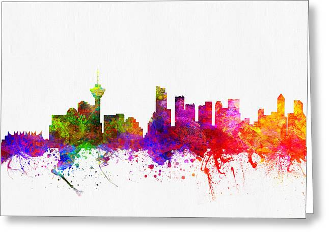 Vancouver British Columbia Skyline Color02 Greeting Card by Aged Pixel