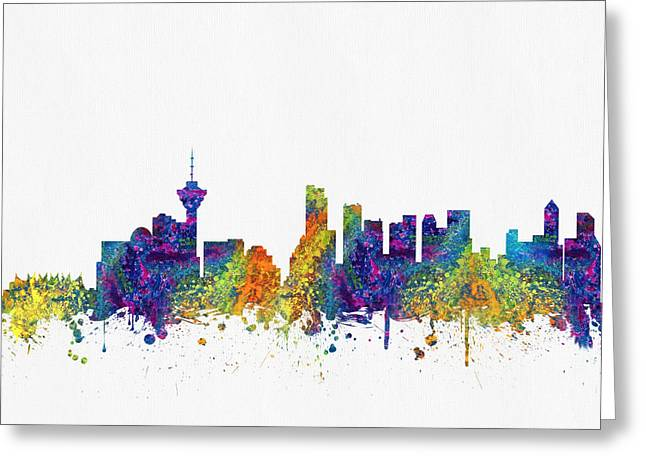 Vancouver British Columbia Skyline Color03 Greeting Card by Aged Pixel