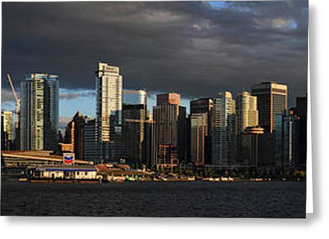 Vancouver Greeting Cards - Vancouver City sunset Panorama from Stanley park Greeting Card by Pierre Leclerc Photography