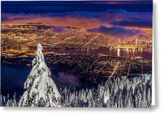 Vancouver City Twilight From Grouse Mountain Greeting Card by Pierre Leclerc Photography