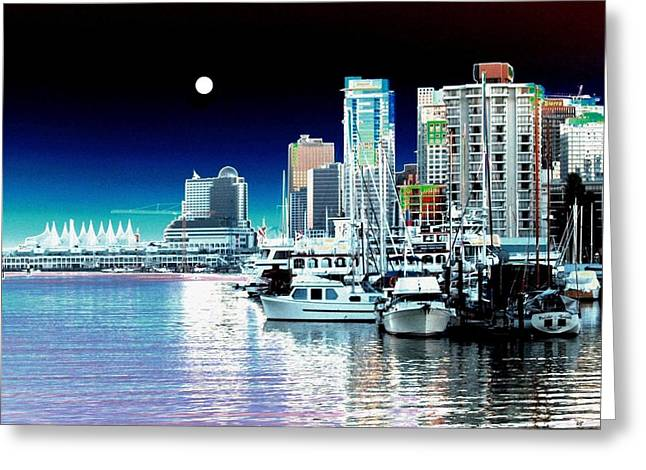 Vancouver Harbor Moonrise  Greeting Card by Will Borden