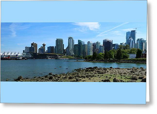 Ocean Panorama Greeting Cards - Vancouver Panorama From Stanley Park Greeting Card by Christiane Schulze Art And Photography