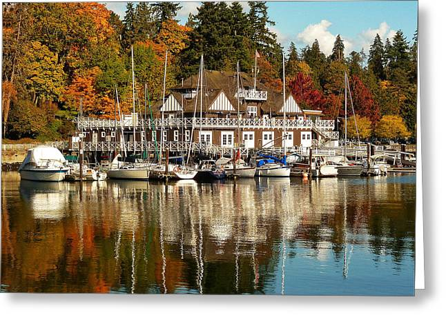 Burrard Inlet Greeting Cards - Vancouver Rowing Club In Autumn Greeting Card by Connie Handscomb