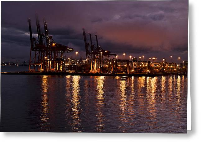 Glowing Water Greeting Cards - Vancouver Shipyard at Night Greeting Card by Marion McCristall