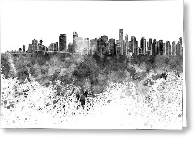 North Vancouver Paintings Greeting Cards - Vancouver skyline in black watercolor on white background Greeting Card by Pablo Romero