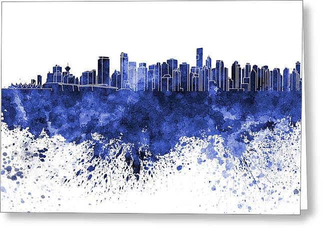 North Vancouver Paintings Greeting Cards - Vancouver skyline in blue watercolor on white background Greeting Card by Pablo Romero