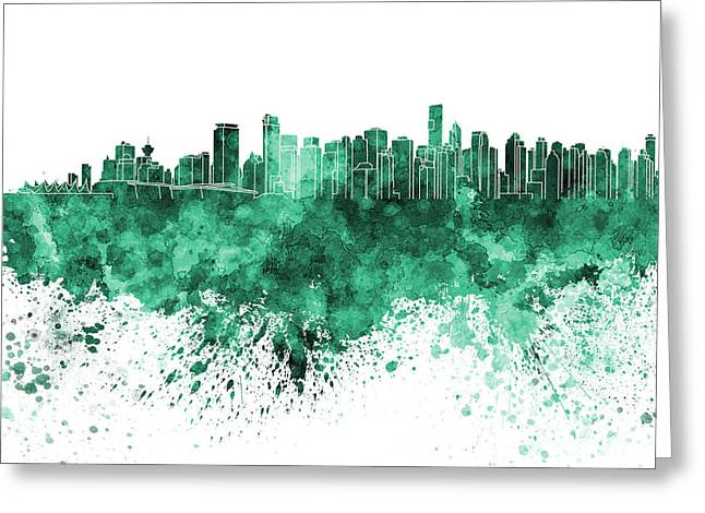 Vancouver Skyline In Green Watercolor On White Background Greeting Card by Pablo Romero