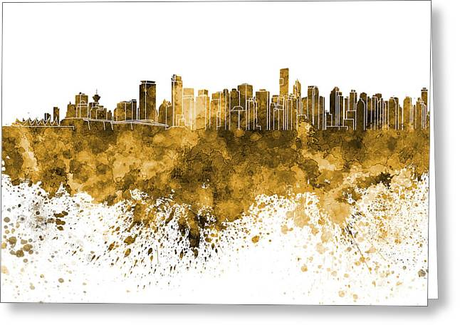 Vancouver Skyline In Orange Watercolor On White Background Greeting Card by Pablo Romero