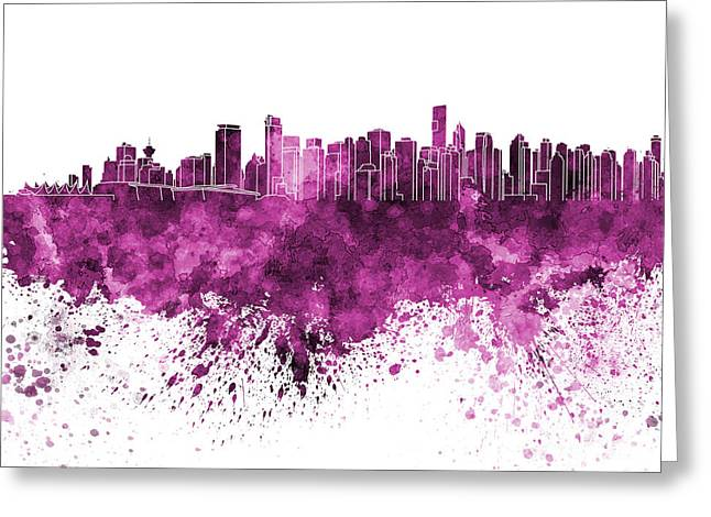 North Vancouver Paintings Greeting Cards - Vancouver skyline in pink watercolor on white background Greeting Card by Pablo Romero