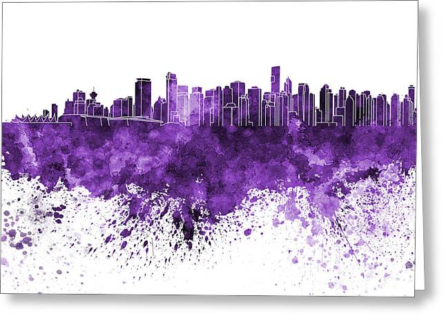North Vancouver Paintings Greeting Cards - Vancouver skyline in purple watercolor on white background Greeting Card by Pablo Romero