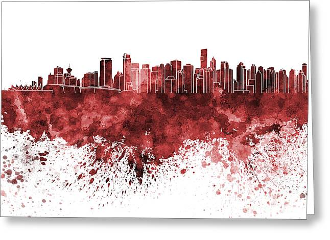 North Vancouver Paintings Greeting Cards - Vancouver skyline in red watercolor on white background Greeting Card by Pablo Romero